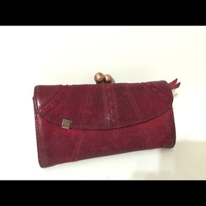 Anthropologie Red Faux Leather large clasp wallet